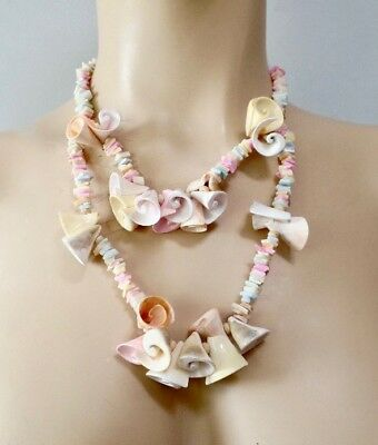 Primitive vintage shell necklace candy tiered choker