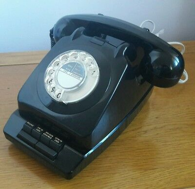 Vintage black rotary 706 dial phone and Planphone A  ext.  converted & working