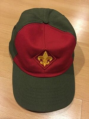 Vintage Boy Scout Cap BSA green & Red