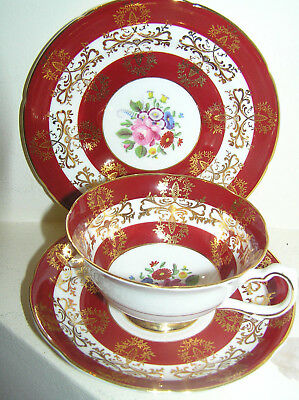 Royal Grafton Fine Bone China Cabinet Cup Saucer Plate Trio Deep Red & Gold