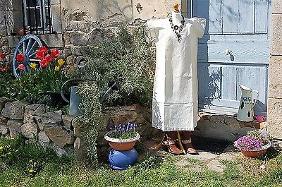 """4 Vintage FRENCH XL Night dresses Pure LINEN Crisp Unused Nightgowns 44"""" SHIFT"""