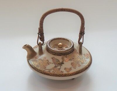"Antique Japanese SATSUMA 1.75"" Miniature Teapot / Sake Pot, Signed"
