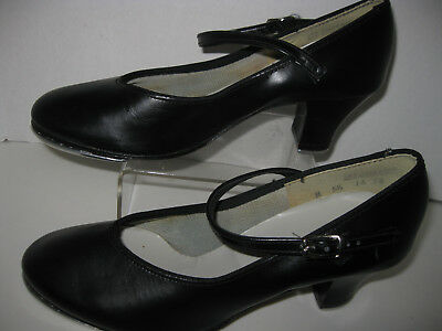"dance shoes-womens size 5 1/2black leather 2 1/4"" heel mary jane tap shoes"