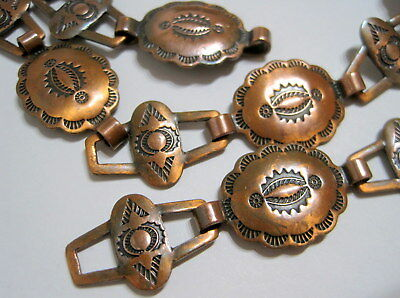 """BEAUTIFULLY STAMPED Vtg SW Native OLD PAWN STYLE Solid Copper CONCHO BELT 32"""""""
