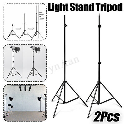 2x Adjustable 2m Photo Photography Studio Light Stand Tripod For Flash Lighting