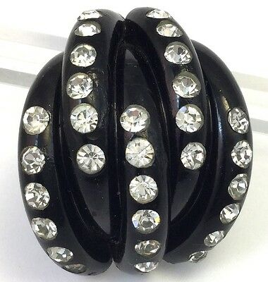 Vintage Dress Clip Black Early Plastic Celluloid Clear Rhinestone Jewelry