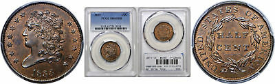 1833 Half Cent PCGS MS-65 RB