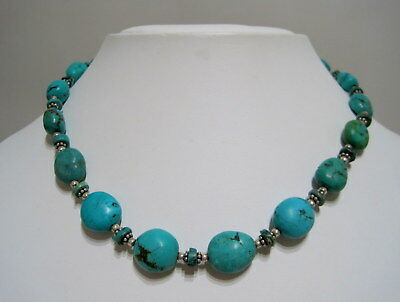 GORGEOUS SW NATIVE STYLE Graduated TURQUOISE Gemstone Bead STERLING NECKLACE
