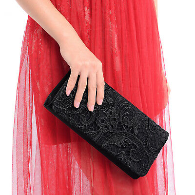 Black Designer Satin Lace Floral Prom Wedding Evening Clutch Bag Bridal Handbag