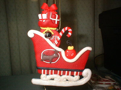 Claydough Santa Claus' Sleigh with Candy Cane & Jingle bell Christmas Ornament