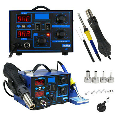 2 in 1 YIHUA 862D+ SMD Soldering Iron Hot Air Rework Heat Gun Solder Station