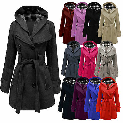 Winter Ladies Womens Lady Hooded Coat Jacket Top Belted Fleece Warm Outwear Coat