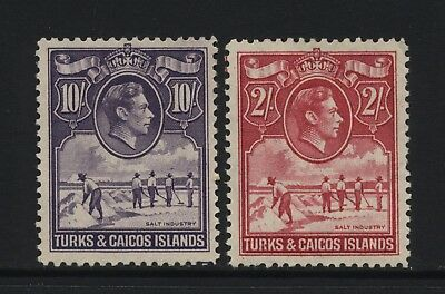 Turks & Caicos Islands KGVI 2/- and 10/- Salt Industry Stamps Mounted Mint