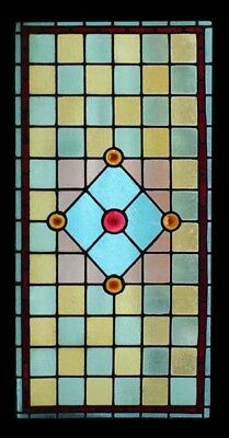 Beautiful Large English Victorian Stained Glass Window Adorned With Rondels