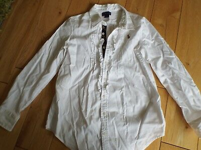 RALPH LAUREN - White Long Sleeved Shirt With Ruffle Detail- Age 10 Years