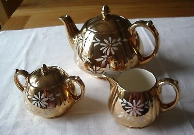 Vintage Gold With White Daisy Flowers Teapot, Sugar Bowl & Cream Jug By Sadler