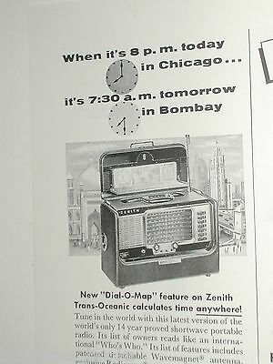 1955 ZENITH advertisement, Zenith Trans-Oceanic shortwave radio R600 1/2 page ad