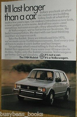 1984 VOLKSWAGEN RABBIT advertisement page, VW Rabbit