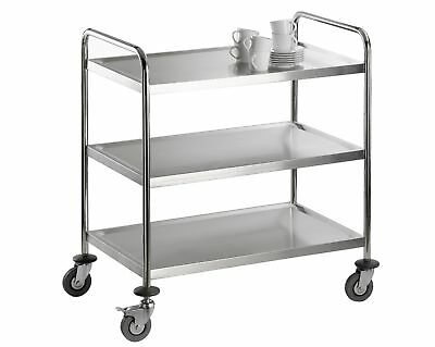 CNS Stainless Steel 3 Borde Serving Trolley Clearing Tea Kitchen Cart