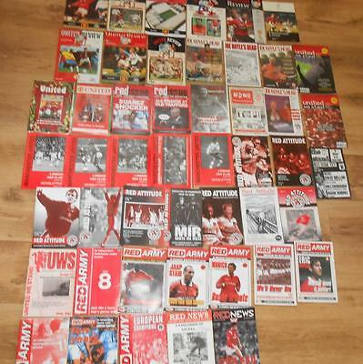 JOBLOT 48 1990s MANCHESTER UNITED REVIEW RED ARMY & ATTITUDE FOOTBALL PROGRAMMES