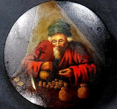 Georgian Papier Mache Snuff Box, Hand Painted with Miser Counting His Coins