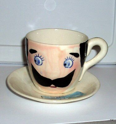Rare Old Cup & Saucer~Mustache,bow Tie