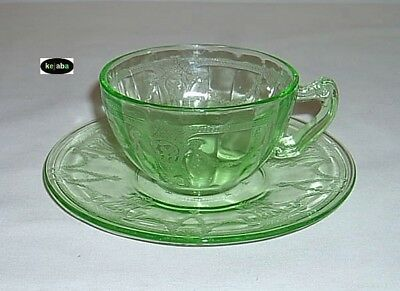 Cameo Ballerina Green Cup and Saucer fancy hdl Hocking