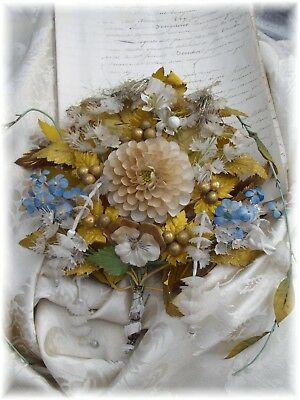 1900 th RARE EXQUISTE ANTIQUE FRENCH BRIDAL BOUQUET FLOWER PANSY DALHIA