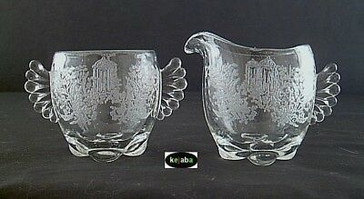 Paden City Gazebo etch Crystal Creamer and Sugar