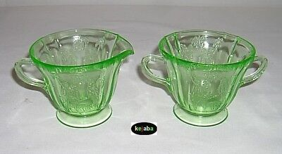 Parrot Green Creamer and Sugar Sylvan Federal