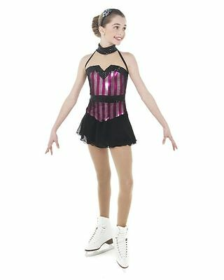 New Competition Skating Dress Elite Xpression 1440 Black Silver AS Adult Small