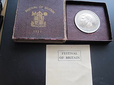 1951 Festival Of Britain Uncirculated Crown Coin With Coa - Maroon Slide Box