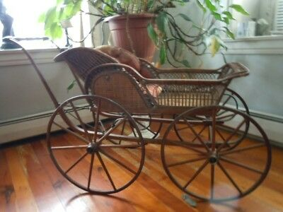 Antique 1880' s Downing Carriage Co. Wicker Baby Carraige w/Tag, Wooden Wheels