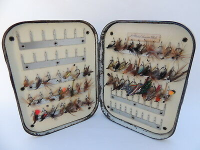 Early Vintage Richard Wheatley Black Japanned Fly Fishing Box + 51 Trout Flies.
