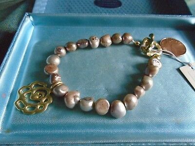 BNWT GREY FRESHWATER 8mm PEARL BRACELET heart toggle clasp