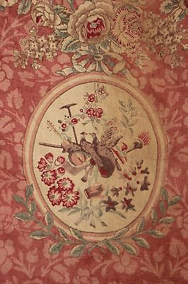 Curtain Drape Antique French linen c 1890 Pink floral faded shabby chic