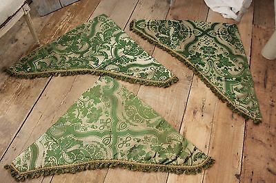 3 Silk Brocatelle antique French green with trim pieces from bed set