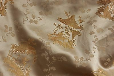Silk brocade Curtain Chinoiserie design French gold with Passementerie trim