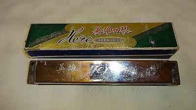 Vintage Boxed Chinese Made 48 Hole Hero Harmonica