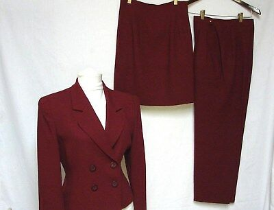 GORGEOUS VINTAGE CHRISTIAN DIOR size 6 P CRANBERRY WORSTED WOOL 3 PIECE SUIT