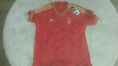 """Superb Bnwt Notts Forest Home Shirt Signed By 27 - """"proof"""""""