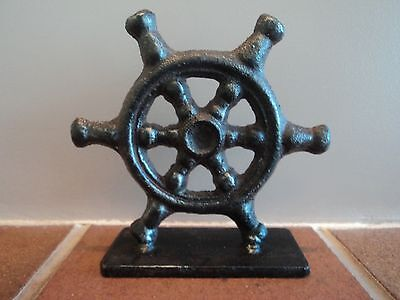 Vintage Marine/maritime Cast Metal Ship's Wheel Desk Top Display/paperweight.