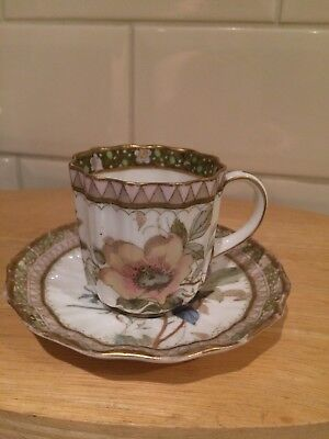 Rare Antique Doulton Burslem Art Nouveau Coffee Demitasse And Saucer