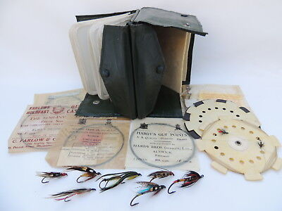 Large Hardy Fly Fishing Cast Carrier / Wallet + Flies & Farlows Cast Packets.