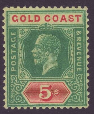 GOLD COAST, 5s GREEN & RED ON YELLOW, DIE II, SG98, MINT, 1924
