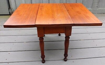 Antique Early American Circa 1900 Childs Wooden Drop Leaf Table With Turned Legs