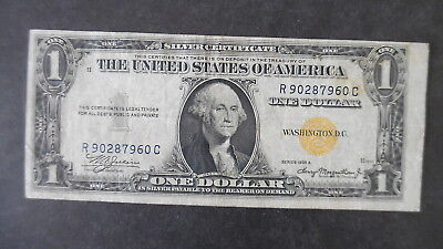 1935 $1 Dollar Silver Certificate Banknote Yellow Seal North Africa