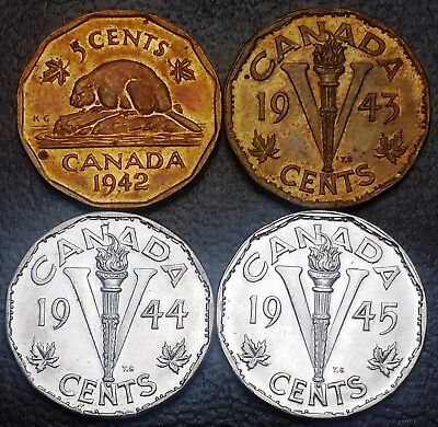 Set of WWII Canada Nickels - 1942-1945 - Tombac & Steel - Great Condition