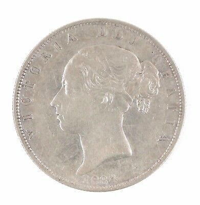 1884 Great Britain Queen Victoria Young Head British Half Crown Silver Coin