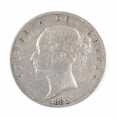 1882 Great Britain Queen Victoria Young Head British Half Crown Silver Coin